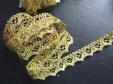 5/8  inch wide gold scalloped metallic lace trim  selling by yard