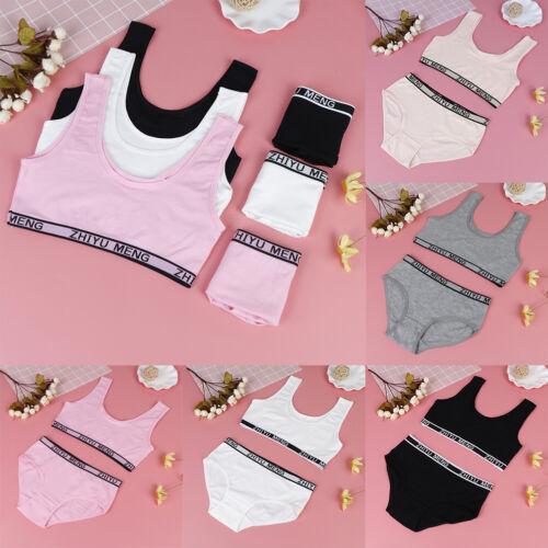 1set bra girls underwear bra vest briefs kids sport undies bustier crop top  HD