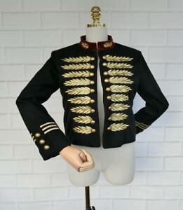 Chic Womens Military Embroidery Outwear Coat Jacket Short Stand Collar Blazers
