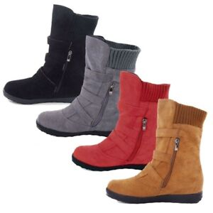 Womens-Winter-Warm-Ladies-Ankle-Boots-Fur-Snow-Buckle-Flats-Suede-Booties-Shoes
