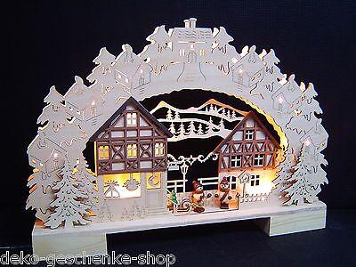 3D LED  Lichterbogen Schwibbogen mit 2 Winterkinder 41 cm Fachwerkhaus 10027