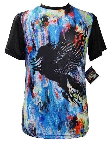 Mens New Logic Sublimated S/S Shirt Embossed PU Pegasus Print Blue MultiColor