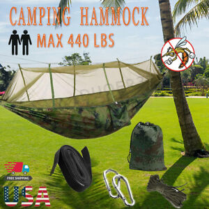 Camping Double Hammock with Mosquito Net Outdoor Nylon Hanging Bed Swing Chair