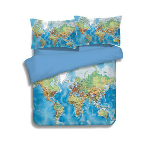 World map duvet cover set 2pc 3pc 4pc quilt cover bed sheet la foto se est cargando world map duvet cover set 2pc 3pc 4pc gumiabroncs Image collections