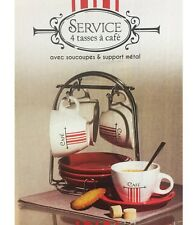 4 TASSE CAFE SUPPORT SOUCOUPES METAL BLANC ROUGE CUISINE VAISSELLE