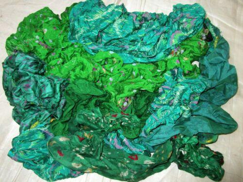 LOT ART SILK Antique Vintage Sari REMNANT Fabrics 100 GRAMS GREEN CRAFT DOLL NR