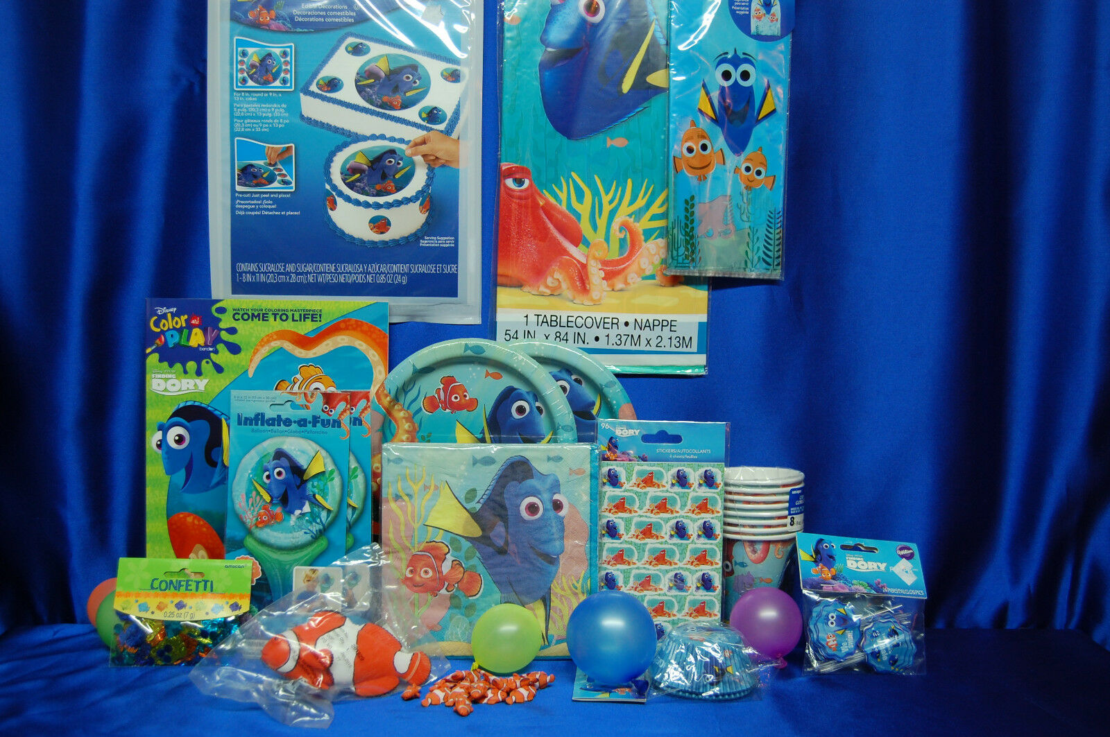 Finding Dory Party Set   20  Plates Napkins Cake DecorationTablecover Balloons +