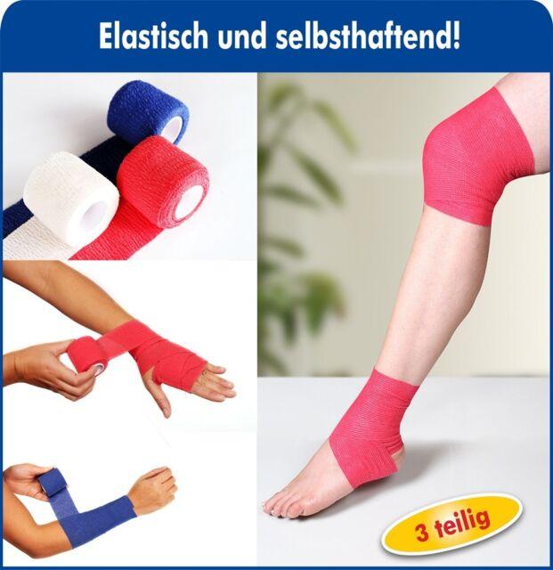 7,26€/m  3 x Haftbandagen Selbsthaftende Bandage elastisch 5cm x 4,5m 3 Farben