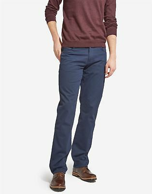 Wrangler Texas Stretch Navy Cotton Trousers With Brown Leather Details