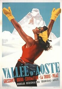Poster-Italien-size-A3-cm-31x42-Italy-VALLE-D-039-AOSTA-SKI-PIN-UP