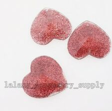 200x Dark Pink Heart Shape Sew-on Flatback Resin Beads Buttons Jewelry Charms L