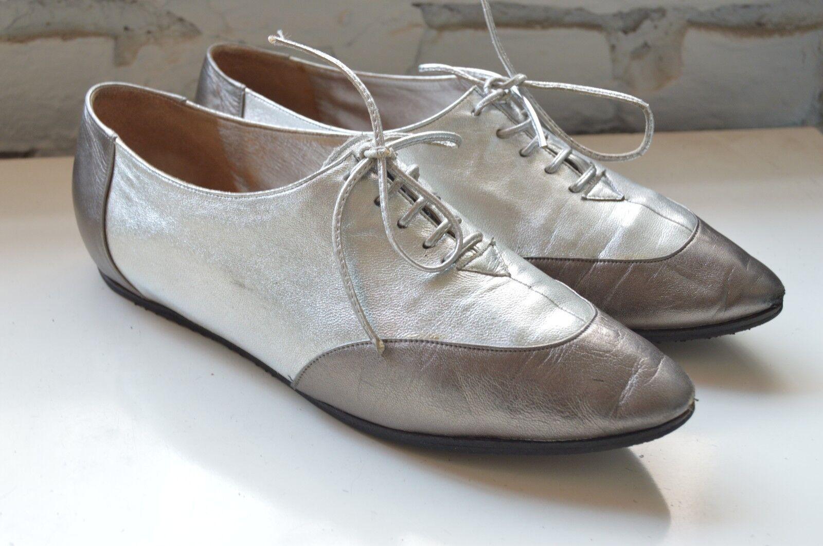 Cómodo y bien parecido Descuento por tiempo limitado Damen Halbschuhe MASSIMO SCOLARO TRUE VINTAGE silber silver flach Schnürschuhe