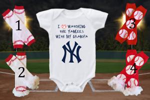 New York Yankees Onesie Bodysuit Shirt Love Watching With My Grandpa