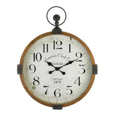 Large 30 Rustic Vintage Style Pocket Watch Wood Metal Wall Clock Ebay