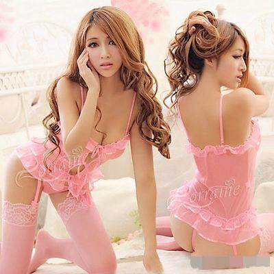 Sexy Lingerie pink babydoll 4pcs=set dress+garters belt +G stings+Stocking S18