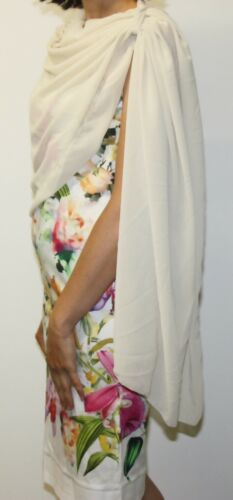 Bolero noche chaqueta blazer brautstola atornillamiento pañuelo bufanda larga con flor VB
