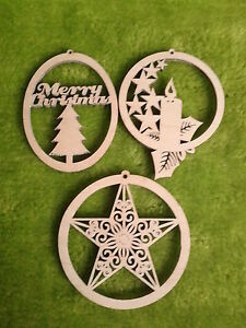 Wooden-Christmas-decoration-tree-ornaments-for-crafts-plain-birch-wood-6-x-3-039-039