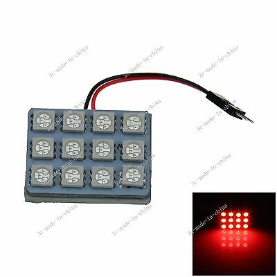 1pcs Red 12 5050 SMD LED Festoon Dome/Door/Box Light Panel Interior Bulb J003
