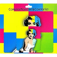 Mousemat Pad & Coaster Set Marilyn Monroe Pop Art Ideal Gift Great Present NEW