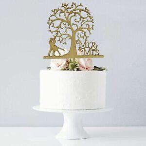 Details Sur En Bois Tree Wedding Cake Topper Mr Mrs Rustique Grave Decoration De Table Cadeau Afficher Le Titre D Origine
