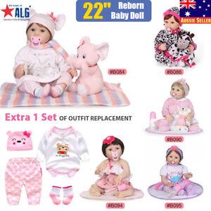 "22"" Lifelike Reborn Baby Doll Soft Silicone Vinyl RealisticNewborn Girl Gift Toy 758762002700"