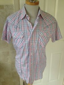 Hope-amp-Glory-Mens-Check-Short-Sleeve-Shirt-Size-3-M-L-Great-Condition