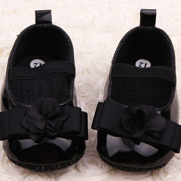 Baby Shoes Toddler Girl Soft Sole PU Leather Ribbon Flower Crib Shoes 0-12M B65
