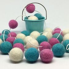 Pom Pom Garland,My First Room,Pink and Turquoise,Felt Ball Bunting,5ft,Baby Girl