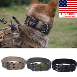 US-Military-Tactical-Adjustable-Dog-Training-Collar-Nylon-Leash-MetalBuckle-M-XL