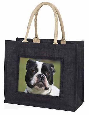 schwarz und weiß Staffordshire Bull Terrier große Einkaufstasche, ad-sbt11blb