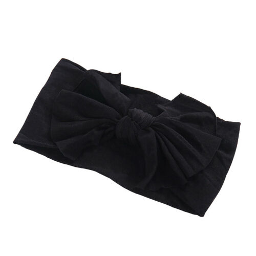 12-Color Wide Bow Nylon Headband Baby Girls Soft Stretchy Elastic Hair Accessory