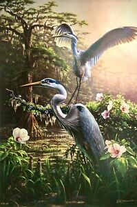 Morning-Glory-Great-Blue-Heron-by-RC-Davis-Signed-and-Numbered-19-1-4-x-29
