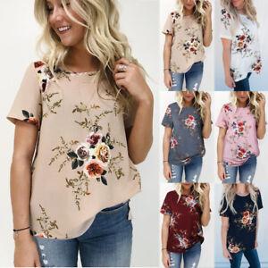 Details about UK Fashion Women Summer Tops Blouse Ladies Short Sleeve Crew  Neck Floral T-Shirt
