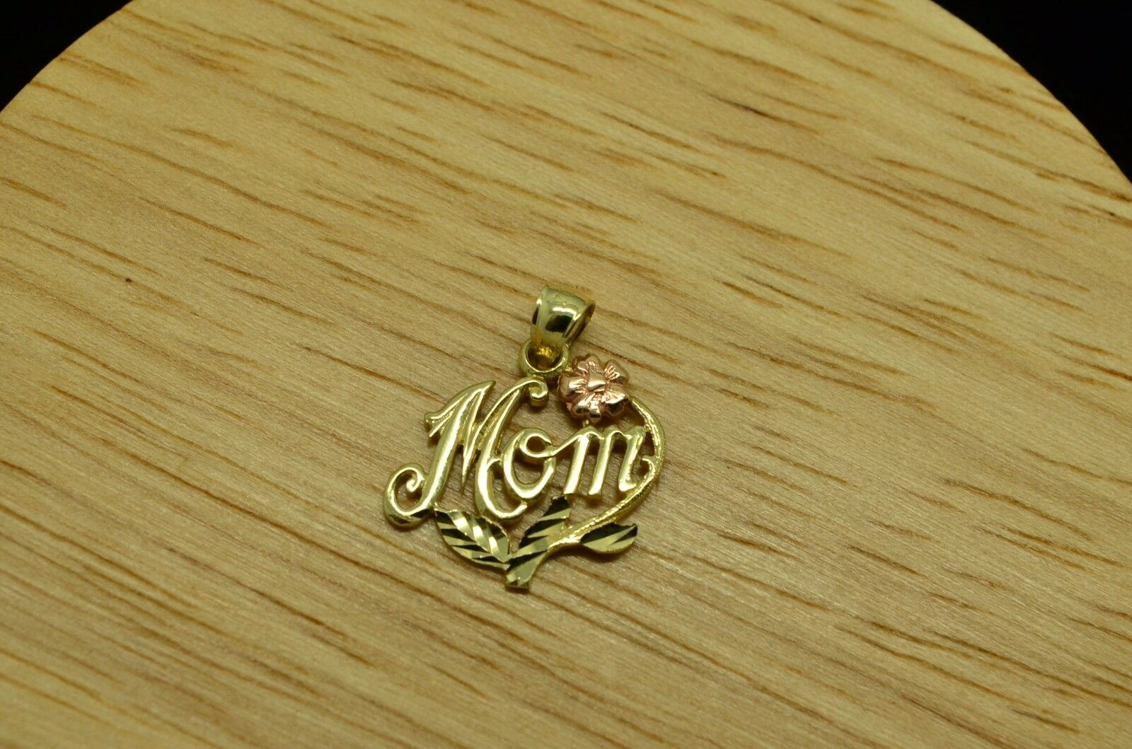 14K YELLOW gold  MOM  PENDANT CHARM W  pink gold pink FLOWER ACCENT  X14-1503