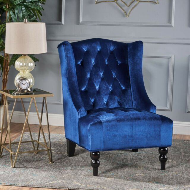 Etonnant High Back Blue Velvet Armchair Wingback Low Seat Tufted Lounge Bedroom Hall  New