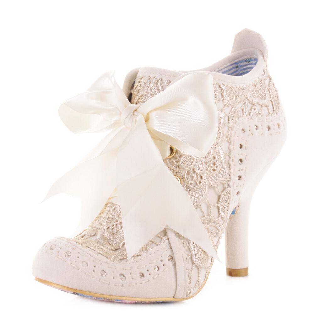 Señoras Irregular Choice Abigails Abigails Choice Fiesta Encaje Crema Tobillo Botas Zapatos Tacones altos Tamaño 80ace4