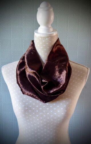 Brown velvet snood crushed velvet cowl velour neck-warmer mocha loop scarf