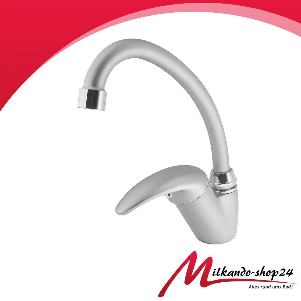 Armatur für Küche Einhandarmatur Wassserhahn für Küchenspüle Küche edel Satin
