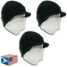 3 LOT DOUBLE LAYER KNIT Black BEANIE HAT VISOR BRIM CUFF RIBBED JEEP CAP UNISEX!