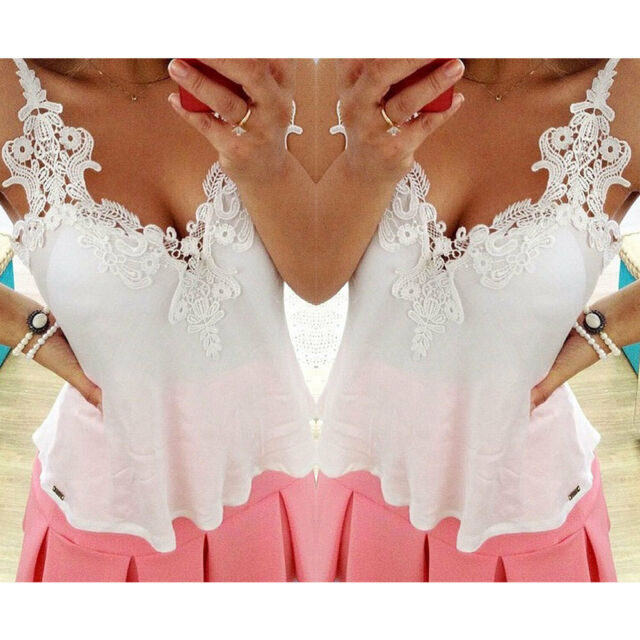 New Sexy Ladies Vest Embroidery Lace Tops Chiffon Shirt Blouse Holiday Size 8-18