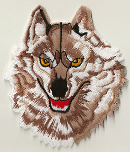 Patch-ecusson-patche-Loup-brun-wolf-logo-embellissement-thermocollant