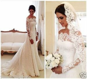 Elegant whiteivory lace off shoulder long sleeve wedding dress image is loading elegant white ivory lace off shoulder long sleeve junglespirit Images