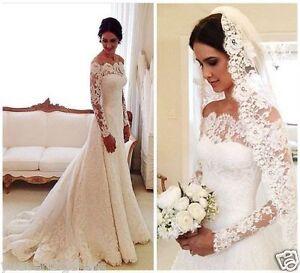 elegant white ivory lace off shoulder long sleeve wedding
