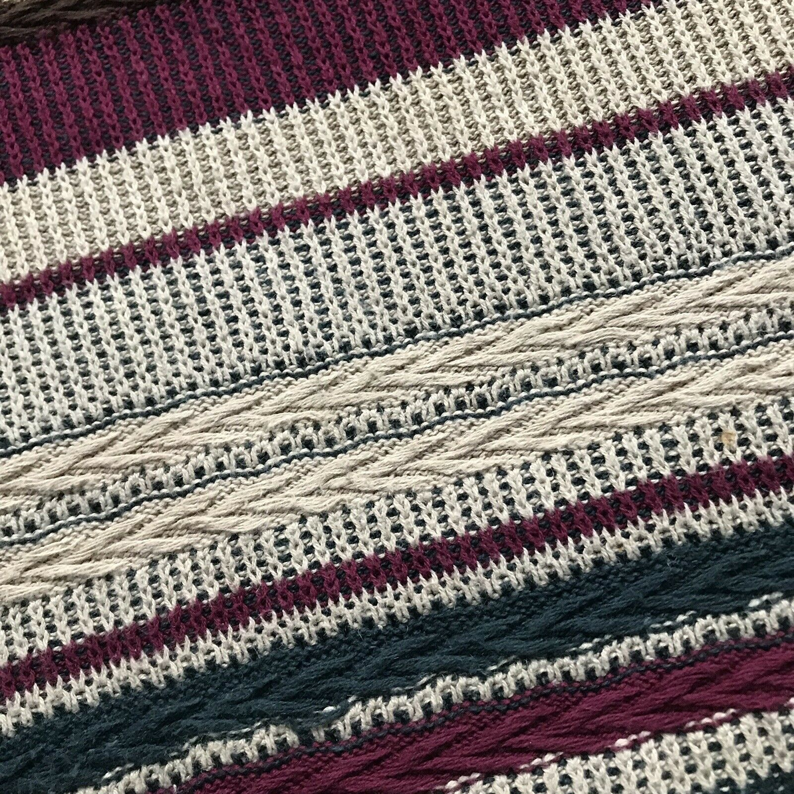 Vintage Textured Striped Knit Abstract Sweater - image 2