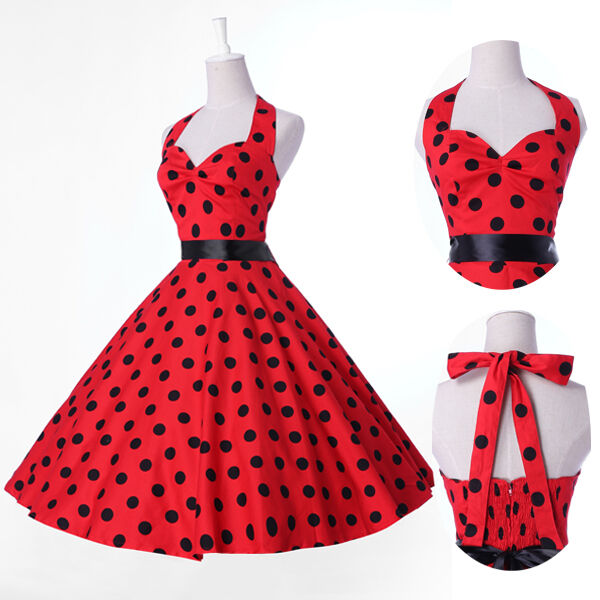Vintage Polka dot Party Swing 50's 60's Housewife pinup Evening Prom Dress Short