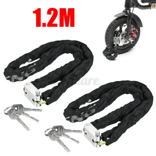 2pcs 3.94ft 1.2M Motorcycle Bicycle Scooter Door Heavy Duty Chain Lock Padlock