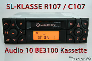 Original-Mercedes-Kassette-Autoradio-Audio-10-BE3100-SL-Klasse-R107-Becker-Radio