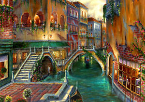 Best-gift-Home-Decor-Bridge-Venice-Oil-painting-Art-wall-Picture-Print-on-canvas