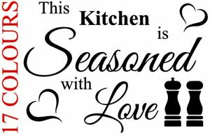 This Kitchen Is Seasoned With Love Wall Art Vinyl Decal Sticker Cafe Dining Ebay