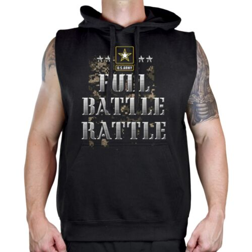 Men/'s Full Battle Ratte Black Sleeveless Vest Hoodie Workout Fitness Gym US Army